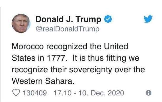Trump tweet recognizes Morocco's claim