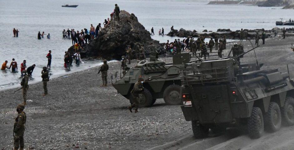 Spanske soldater ved Ceuta. Foto: JOAQUÍN SÁNCHEZ / EFE